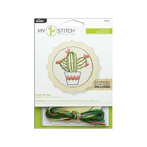 "stuck on you Bucilla//Mon 1st Stitch Mini estampillé Broderie Kit 4/"""