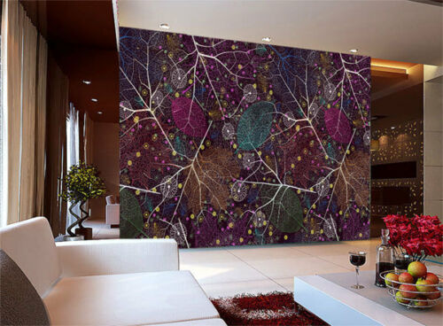 Seamless Pattern Abstract Leaf 3D Full Wall Mural Photo Wallpaper Home Decal Kid