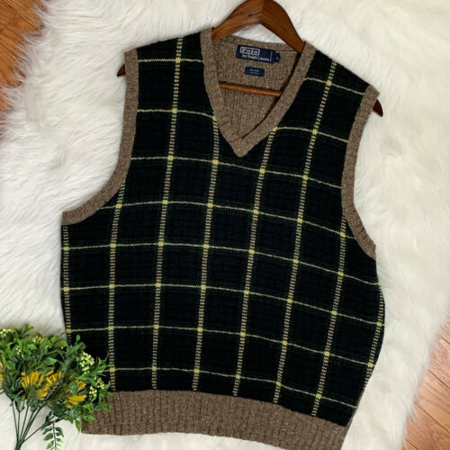 Polo by Ralph Lauren Green Plaid Sweater Vest Woo… - image 1