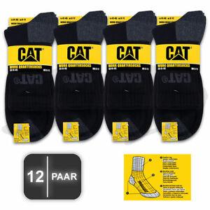 12 Paar CAT® CATERPILLAR WORK Quarter Kurze Arbeits Socken Quaters Strümpfe kurz
