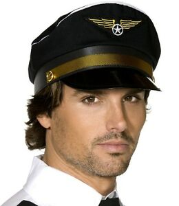 5a9e8f5b22f07f Mens Fancy Dress Airline Pilot Hat Black Cap with Badge Stag Party ...