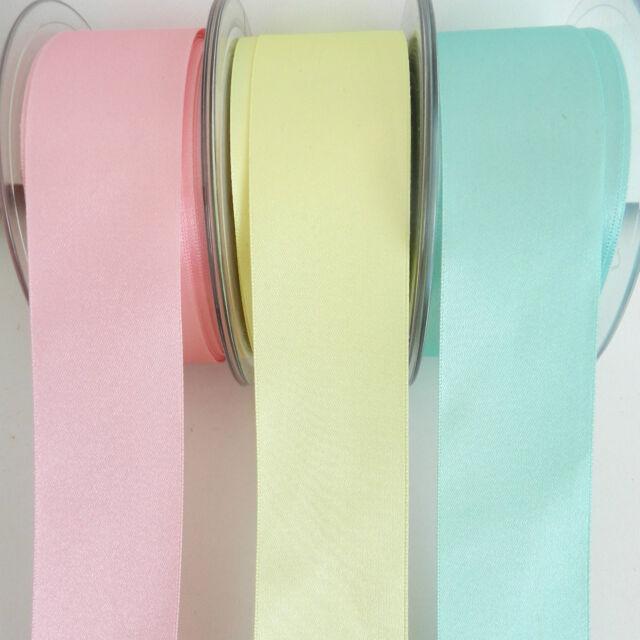 per metre Berisfords Double faced satin ribbon 35mm pink lemon aqua