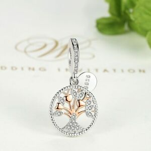 New-Authentic-Rose-Gold-Family-Tree-Silver-Dangle-Charms-Beads-Fit-Original