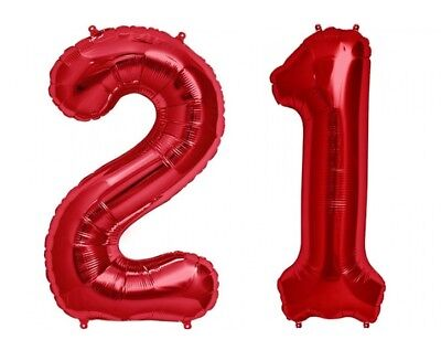 "Giant 40/"" 21 Hot Red Number Balloons 21st Birthday Anniversary Foil Float Helium"