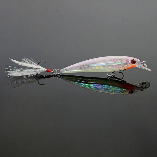 5Pcs Fishing Lures Crankbaits JERKBAIT Minnow Lot Hooks Bait Bass Tackle RATTLE