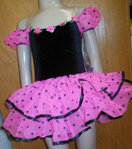 Girls Ruffled Tap Costume Hot Pink Black Velvet Body micro dot over 100 availble