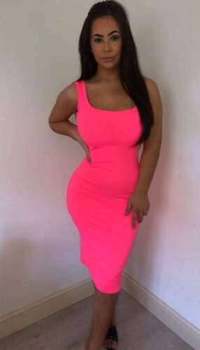 Ladies Sleeveles Ribbed Plain Stretch Bodycon Strappy Midi Summer Party DressNew