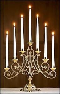 Brass 7 candle candelabra christian church altar supplies 14 5 quot h