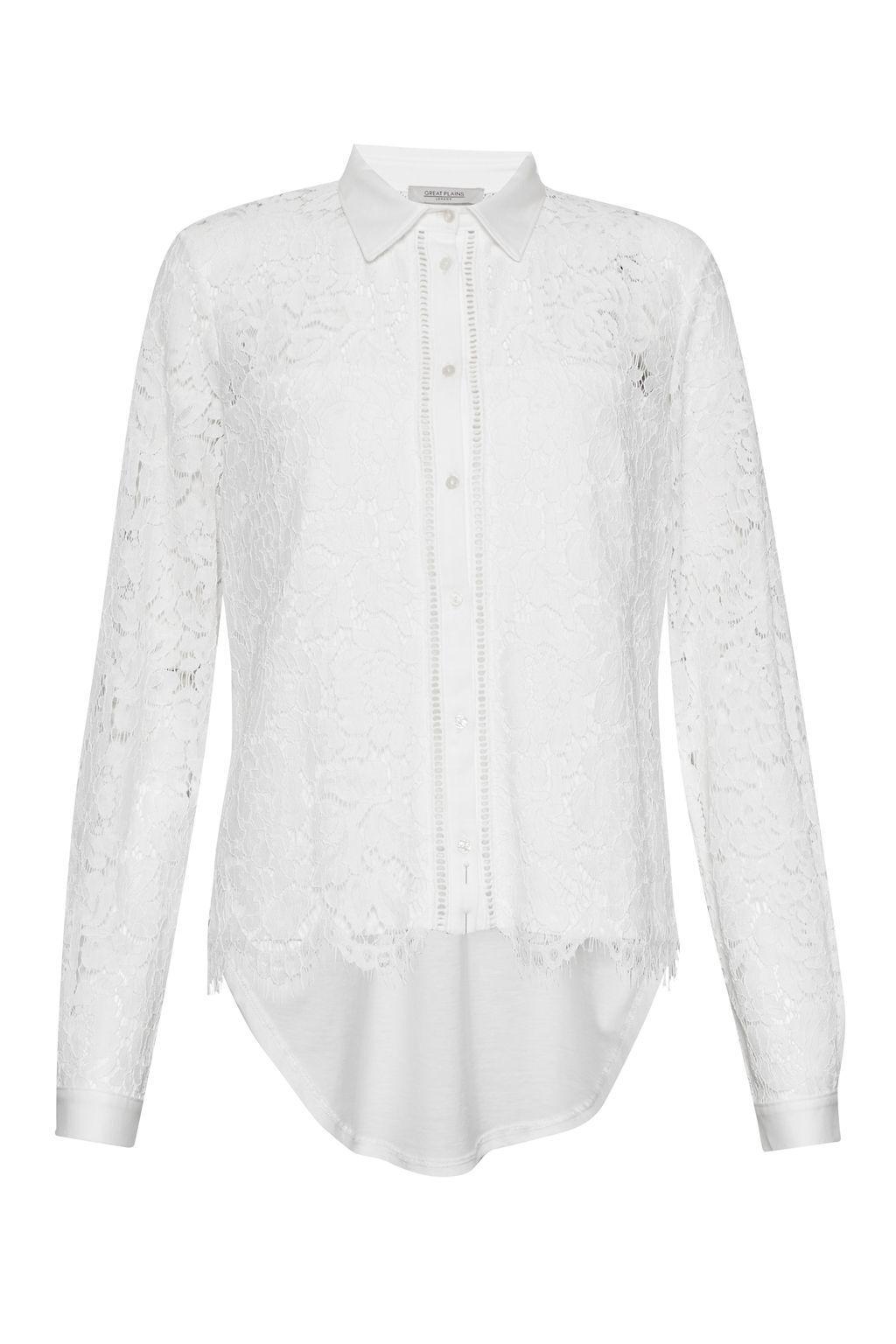 Great Plains Lorenzo Lace Mix Shirt Cream Size L LF172 KK 07