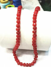 "Beautiful 5x8MM Natural red ruby Abacus Faceted Beads Necklace 18 ""  HK01010"