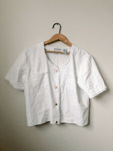 Principles-Vintage-White-Crop-Button-Down-Embroidered-Linen-Blouse-Tee-Large-12