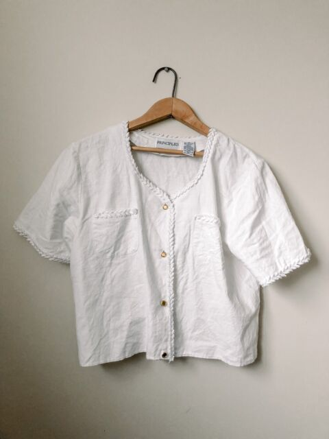 Principles Vintage White Crop Button Down Embroidered Linen Blouse Tee Large/12