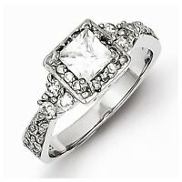 Sterling Silver Antique Style Square Halo Setting Princess-cut Cz Ring - Size 7