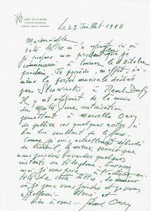 Gérard OURY / Lettre autographe signée à propos de son dernier film.