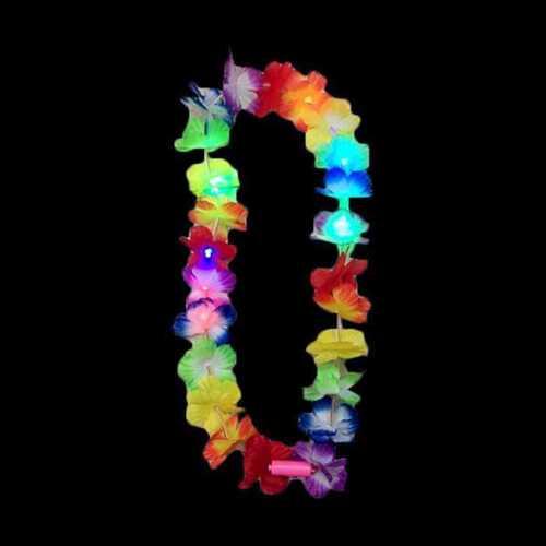 LED HAWAIIAN LEI HULA LIGHT UP FLOWER GARLANDS NECKLACE BEACH PARTY COSTUME LOT