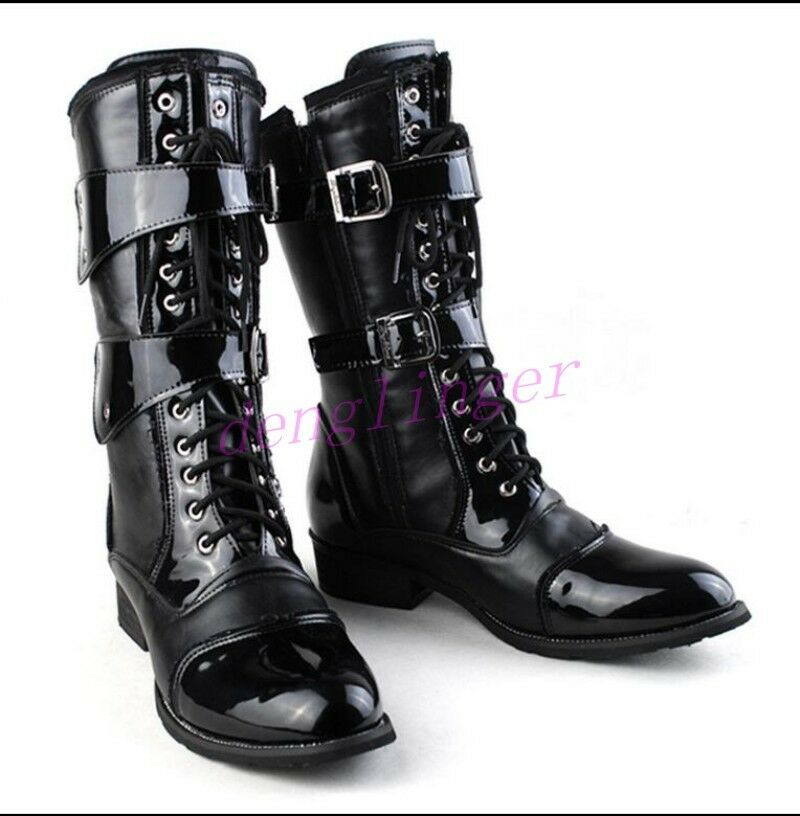 Military Men's Patent Leather Lace Up Punk Combat Knee High Boots Riding shoes