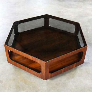 Mcm Lane Alta Vista Hexagon Coffee Table Walnut And Smoked Glass