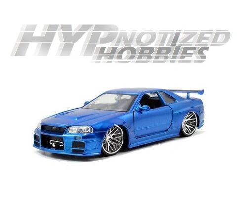 Jada 1:24 Fast And Furious de BRIAN 2002 Nissan Skyline Gt-R Die-Cast Azul