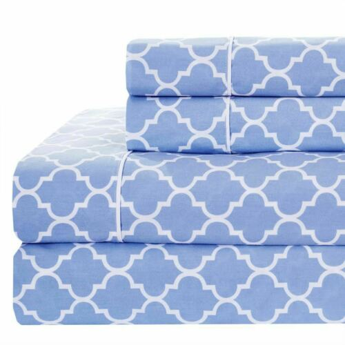 Printed Meridian Split King Adjustable Bed Sheet Sets 340TC 100/% Cotton