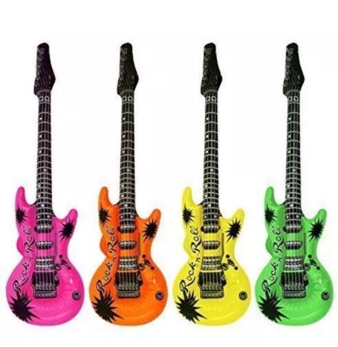4x Neon Inflatable Blow Up Guitars Fancy Dress Party Prop Musical Disco Rock UK