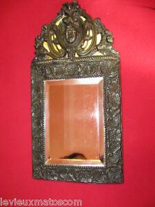 Miroir Parclose Fin Xixeme Haut 44 X Larg 23 Prof 3 Cm 100% D'Origine
