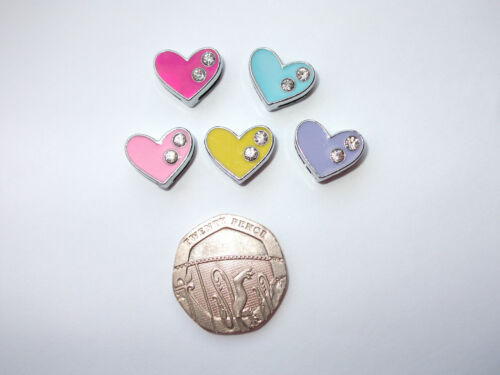 2 x Heart Charm Slide Crystal Ladies Gift Pink Lilac Blue Yellow Slider 150