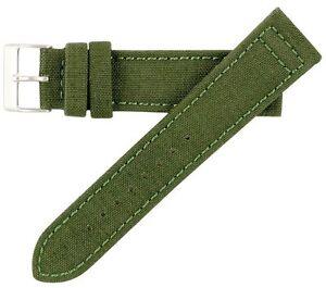 22mm-Hadley-Roma-Herren-Original-Cordura-Canvas-green-oliv-Watch-Band-Strap-MS850