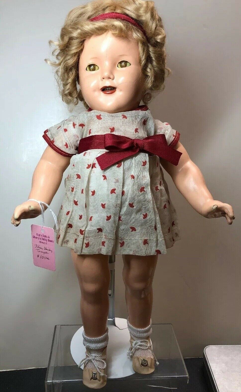 """16.5"""" Vintage Antique Ideal Compo Shirley Temple Adorable Curls Sweet Kleid  S"""