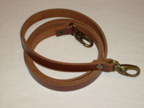 "MEDIUM BROWN LEATHER SHOULDER BAG REPLACEMENT STRAP BRONZE FITTINGS 1//2/"" TAN"