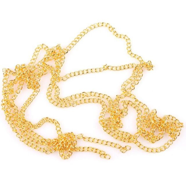10m HOT SALE Plating Gold 0.6 Closely *2 Charms Iron Chains Making Craft BS