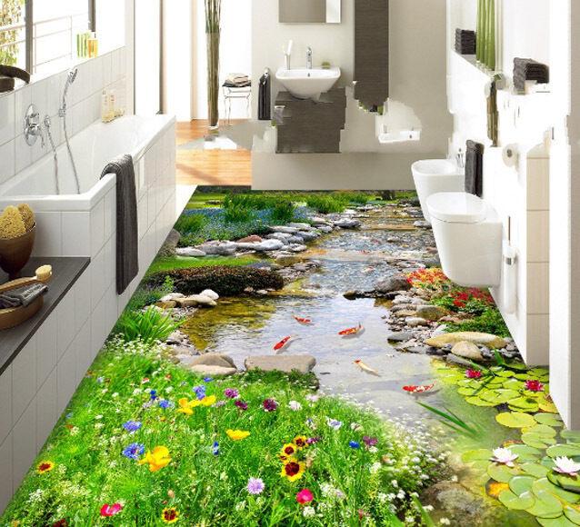 3D fish flower Grün4384 Floor WallPaper Murals Wall Print Decal 5D AJ WALLPAPER