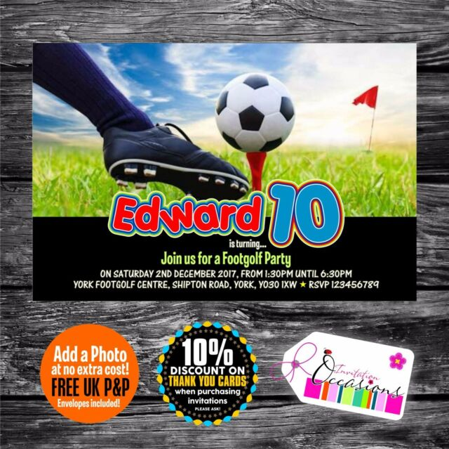 Personalised Birthday Invitations Footgolf Party X 5