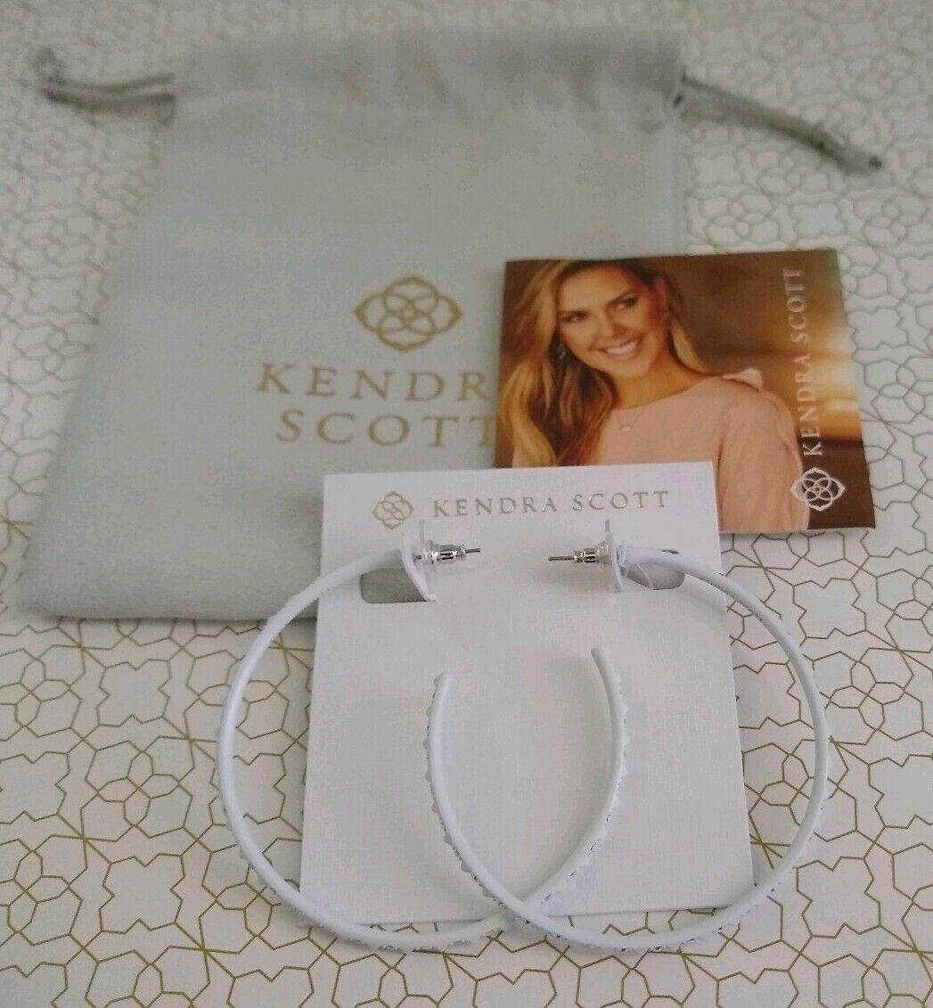 Kendra Scott Val Hoop Earrings - Matte White Iridescent Crystal