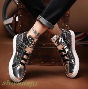 metallizzato Nuova argento moda scarpe giovanile high top rivetto punk uomo casual sneakers drEIqZwra