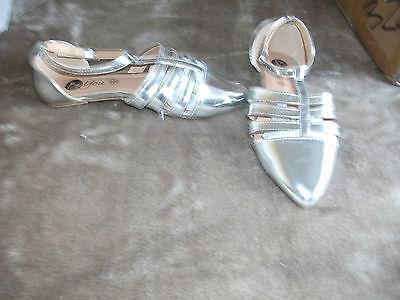 Señoras plata patente Gladiador Sandalia Talla 5 Nuevo