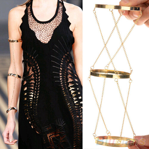 CELEBRITY WOMENS ARM HARNESS SLAVE CHAIN UPPER ARM CUFF ARMBAND ARMLET BRACELET
