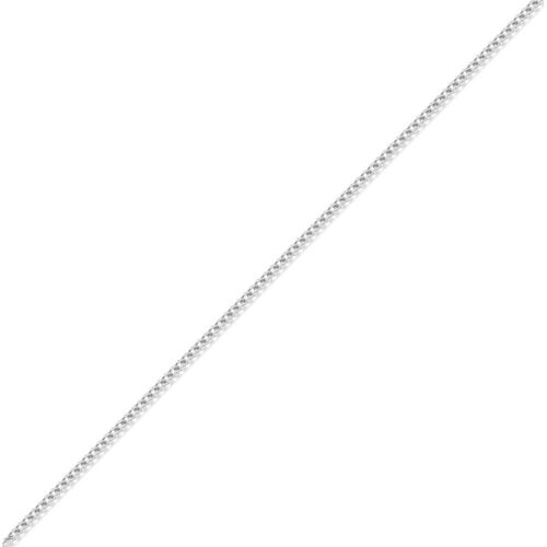 Jewelco London 18ct White Gold Curb 0.8mm Pendant Chain Necklace 16 inch