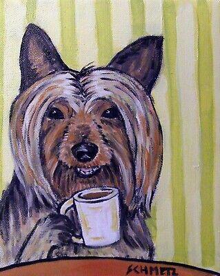 YORKSHIRE TERRIER coffee 8x10  artist prints animals impressionism