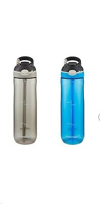Contigo Autospout Ashland Water Bottle NEW 24oz Gray and Blue 2 Bottles//PACK