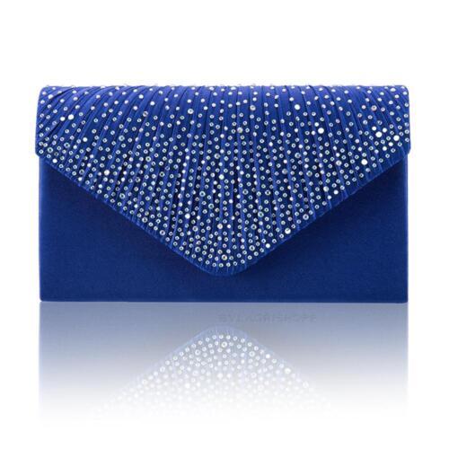 8d7cc53ec182 Women Evening Bag Satin Bridal Diamante Ladies Clutch Envelope Handbag Wniu  Royalblue