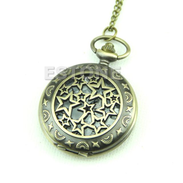 Vintage Men Lady Bronze Antique Hollow Pocket Watch Necklace Pendant Chain Retro
