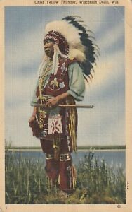 INDIAN-POSTCARD-CHIEF-YELLOW-THUNDER-WISCONSIN-1951