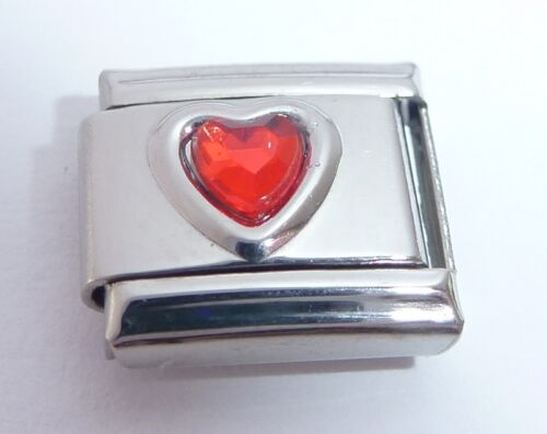 RED HEART GEM Italian Charm Love July Birthstone fits Classic Starter Bracelets