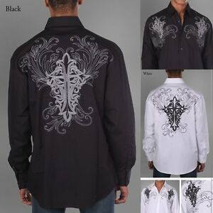Men-039-s-100-Cotton-Fashion-Casual-Dress-Shirt-With-Embroidered-Design