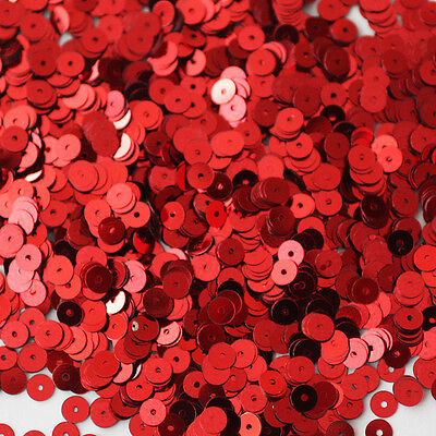 5mm Flat SEQUIN PAILLETTES ~ RED Metallic ~ Round Disc ~ Made in USA.