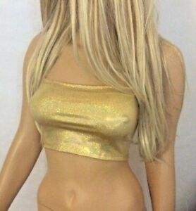 6ac9a5315e8 Boob Tube Top Shiny Wet Look Gold Holo Strapless BANDEAU Club Party ...