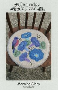 NEW Primitive Country Round Chair Mat Rug Hooking Pattern Flowers & Bird UNCUT