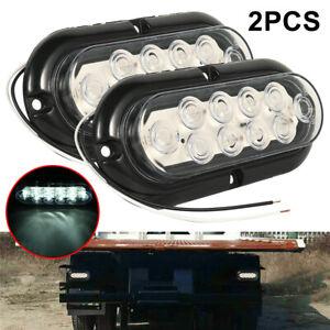2X-Oval-White-6-034-10-LED-Surface-Mount-Backup-Reverse-LED-Light-for-Truck-Trailer