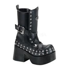 Demonia Platoon-205 goth gothic punk cyber combat black studded boots 8 CLOSEOUT