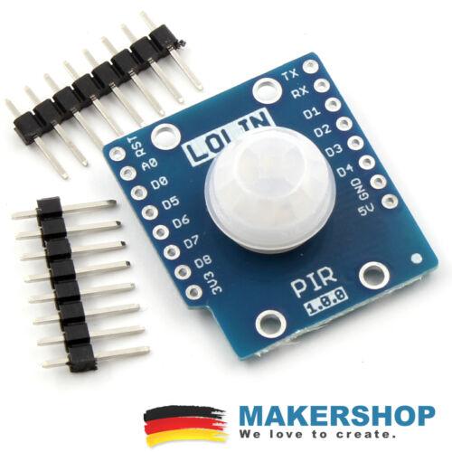 Wemos D1 Mini Lolin PIR Sensor Shield IR Infrarot Bewegungsmelder HC SR501